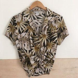 Vintage Hawaiian Neutral Colored Button Down Shirt